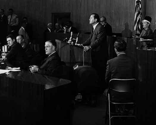 Cavanagh Speaking at Emergency Meeting (1967)
