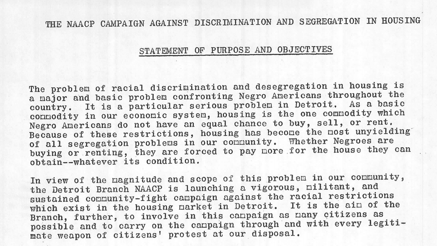NAACP Campaign Against Discrimination and Segregation in Housing