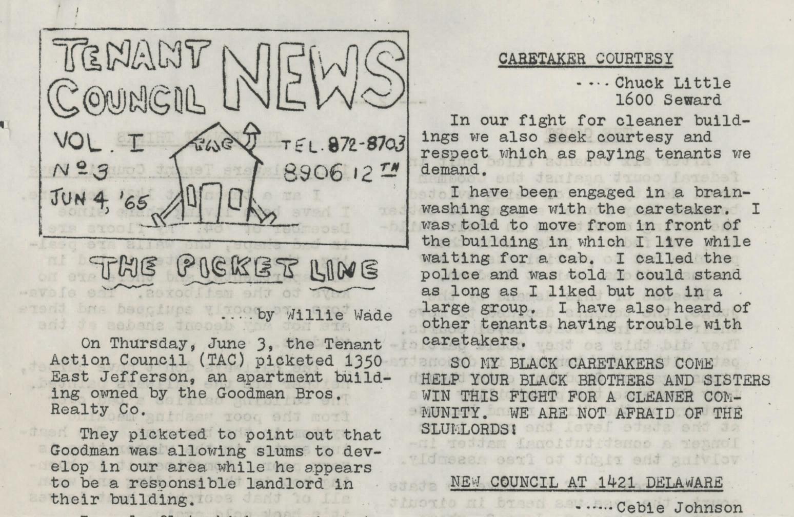 Tenant Council News, vol. 1, no. 3 (June 4, 1965)