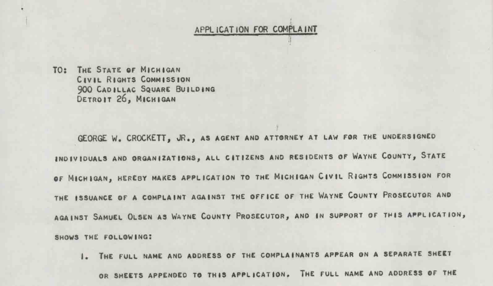 Application for Complaint, State of Michigan Civil Rights Commission