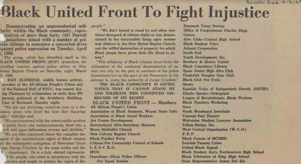 Black United Front To Fight Injustice