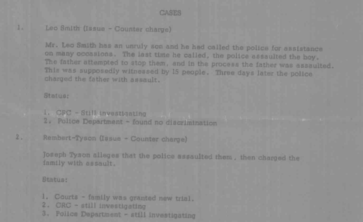 Cases, Citizens Complaint Bureau