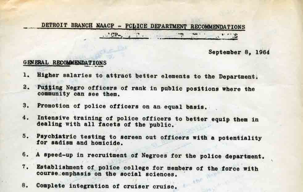 Detroit Branch NAACP -- Police Department Recommendations