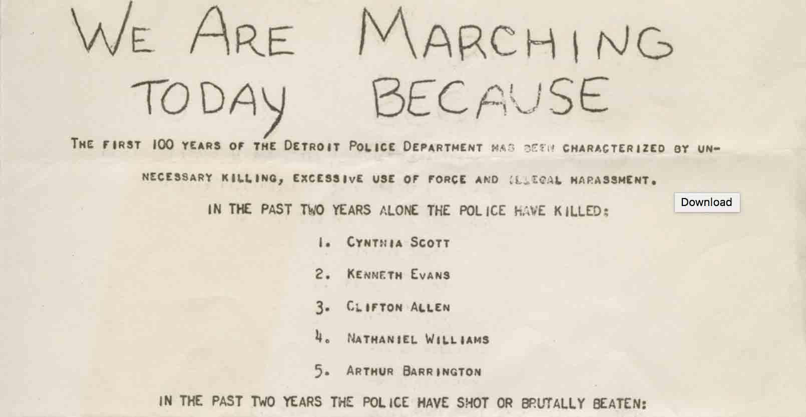 Flyer, police brutality demonstration, 1965
