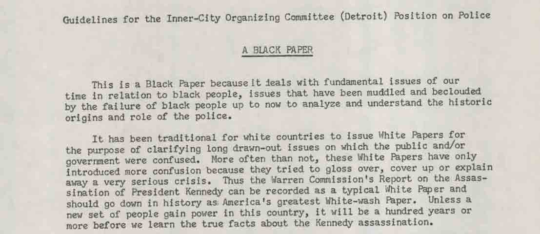 Guidelines for the Inner-City Organizing Committee (Detroit) Position on Police