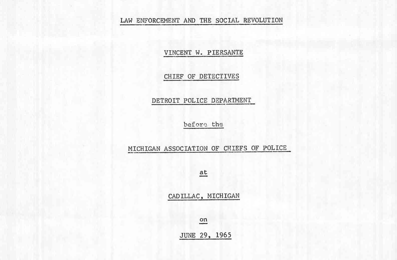 Law Enforcement and Social Revolution