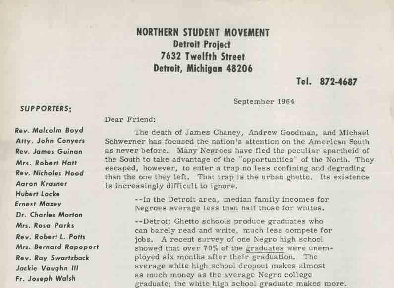 Letter, Northern Student Movement, September 1964