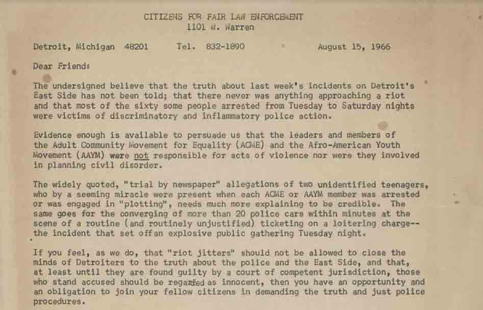 Letter from Rev. Roger Barney, August 15, 1966