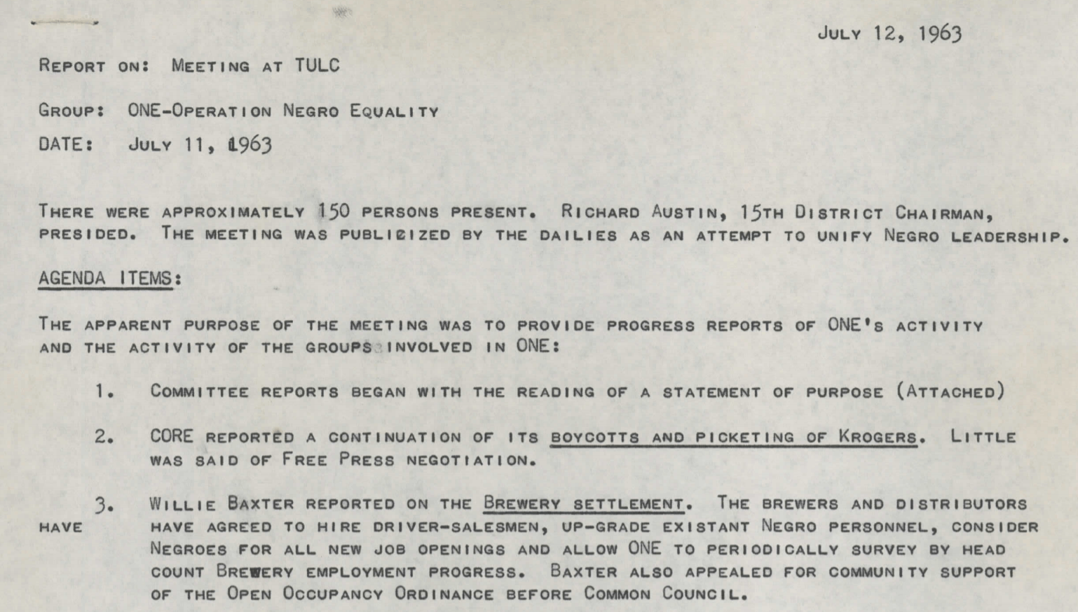 Meeting Minutes, Operation Negro Equality (July 11, 1963)