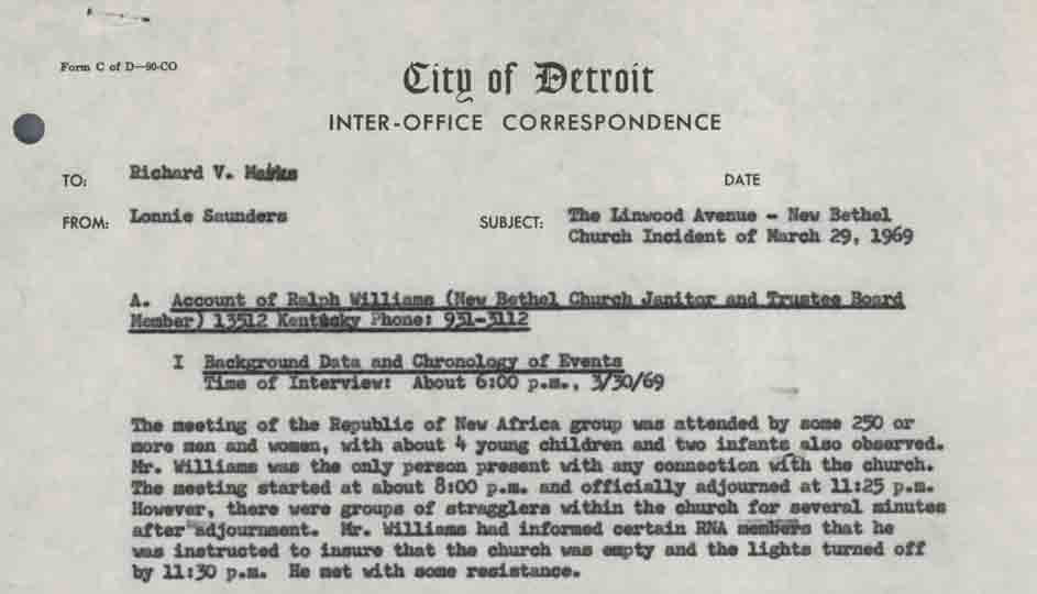 Memo to Richard V. Marks from Lonnie Saunders, Witness Accounts of the New Bethel Church Incident
