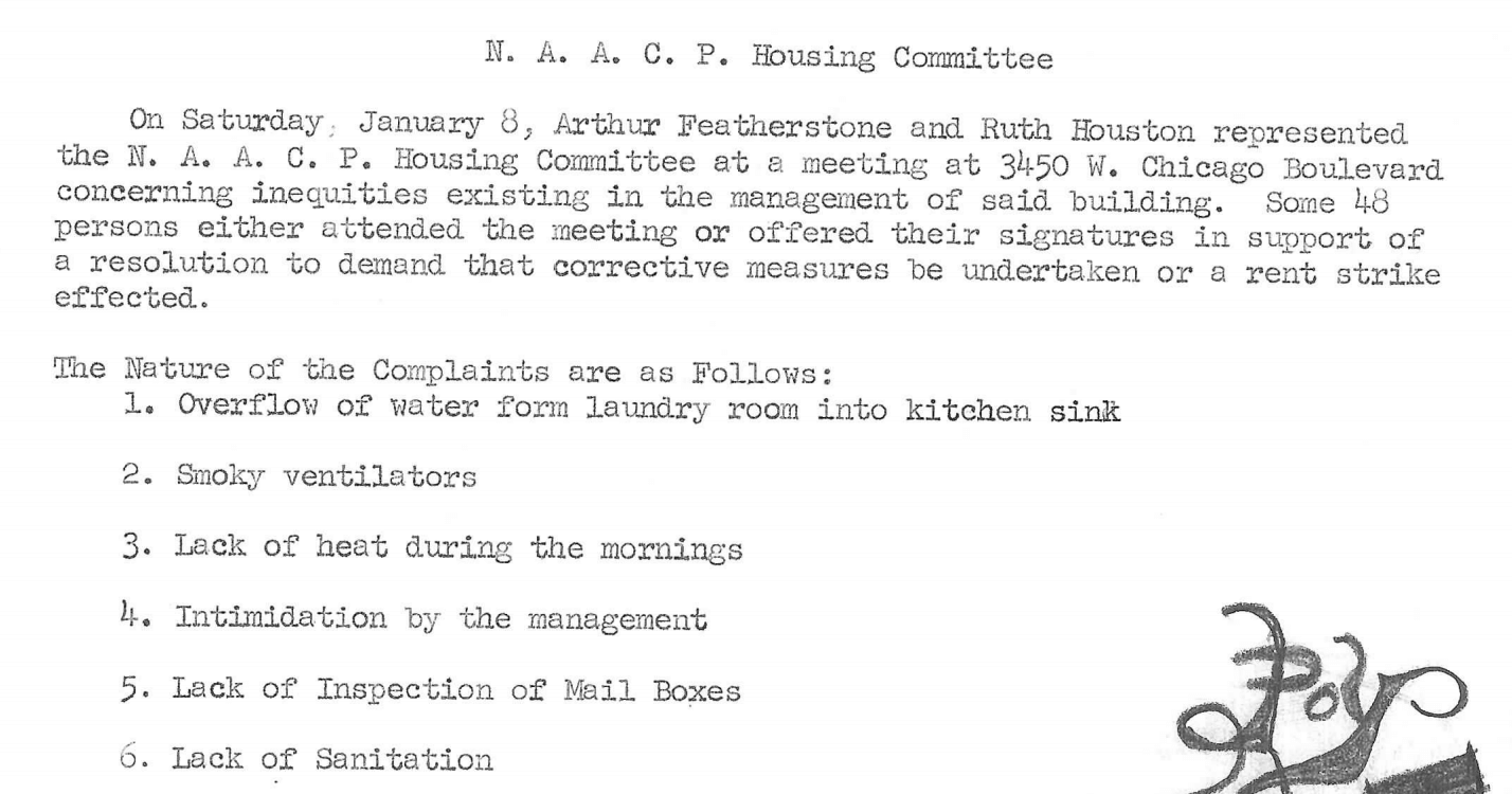 Minutes of NAACP Housing Committee, January 1966