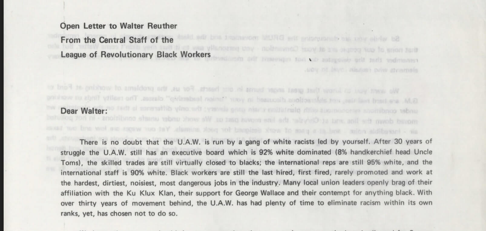 Open Letter to Walter Reuther from the League of Revolutionary Black Workers