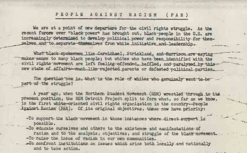 People Against Racism Statement, 1966