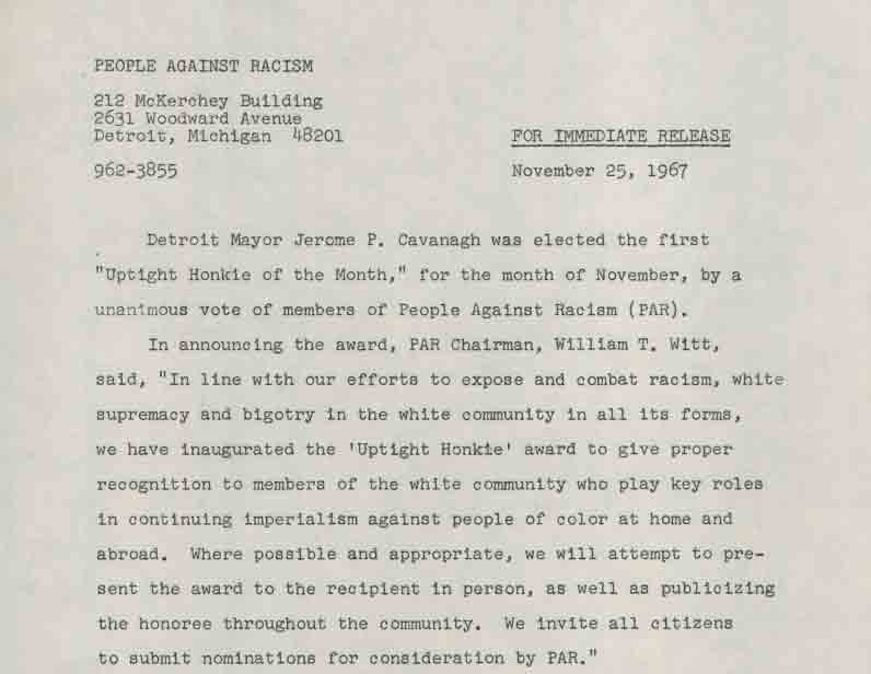 Press Release, People Against Racism