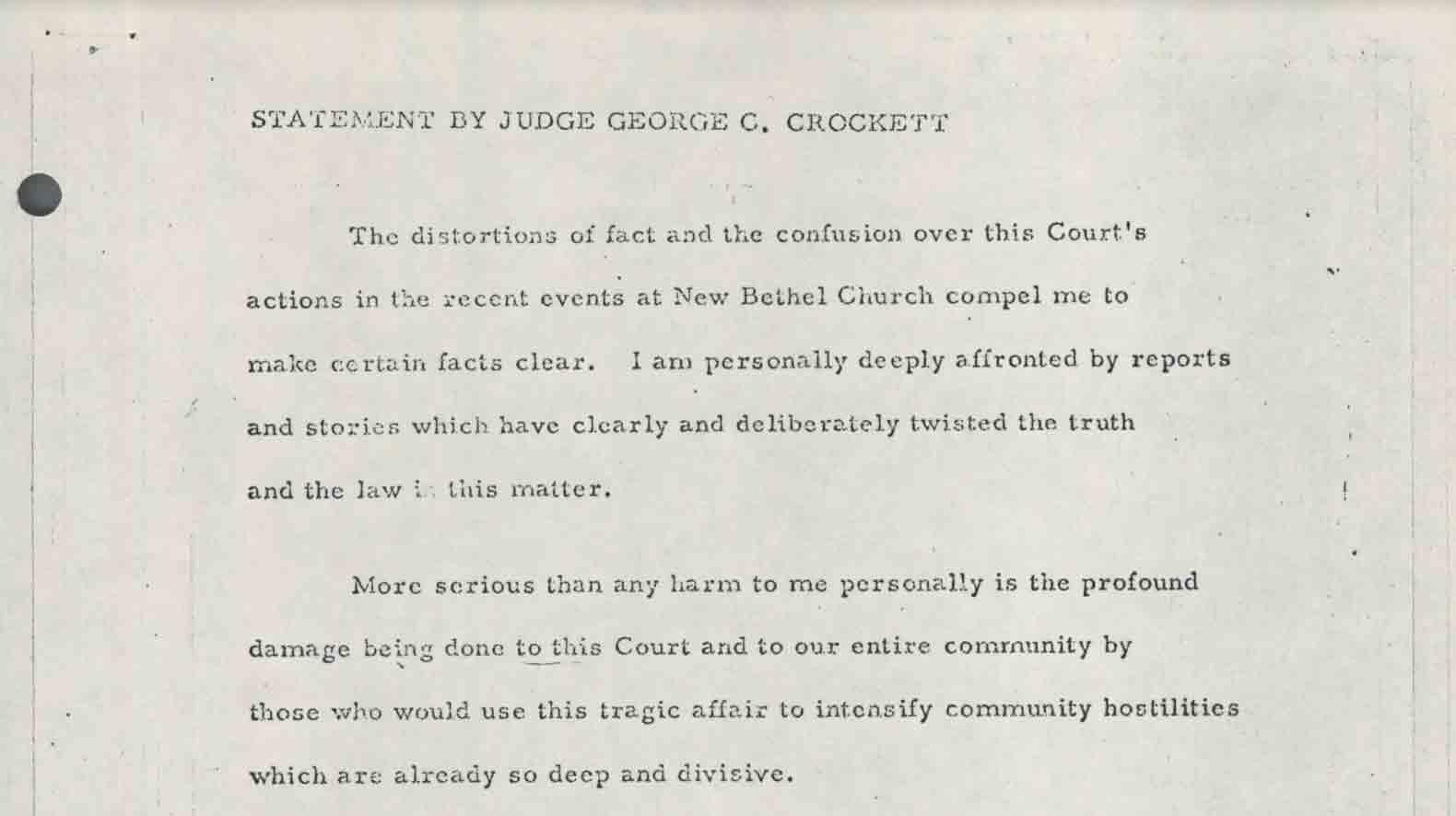 Statement by Judge George C. Crockett