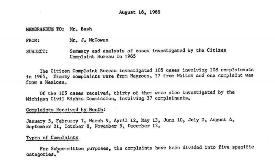 Summary and Analysis of Cases Investigated by the Citizen Complaint Bureau in 1965