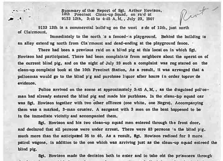 Summary of Police Report (July 23, 1967)