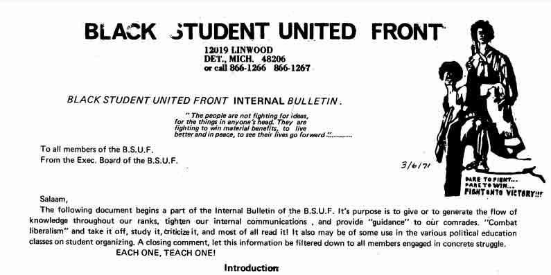BSUF Internal Bulletin (1971)