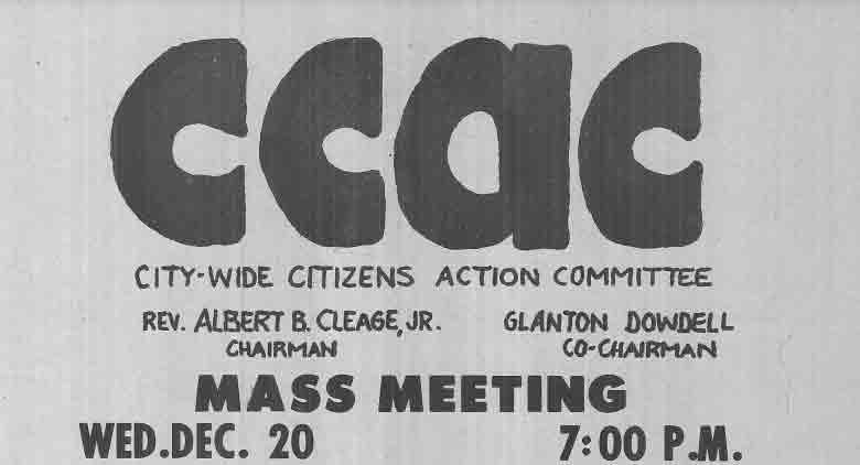 CCAC Mass Meeting Flyer, Dec 20, 1967