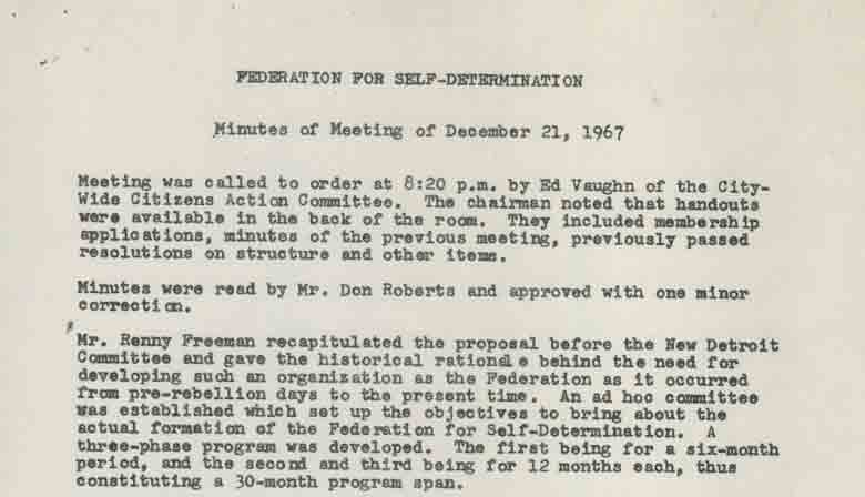 Federation for Self-Determination, Minutes of Meeting