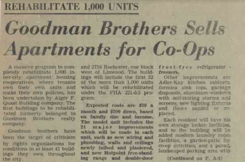 Goodman Brothers Sell Apartments for Co-Ops