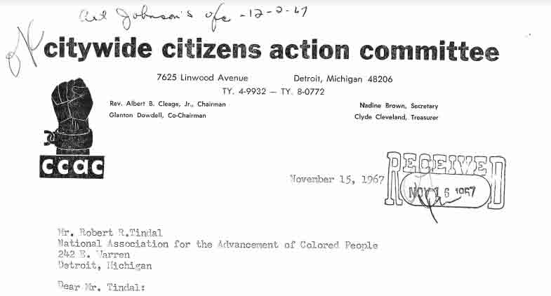 Letter from Albert Cleage to Robert Tindal, Nov 15, 1967