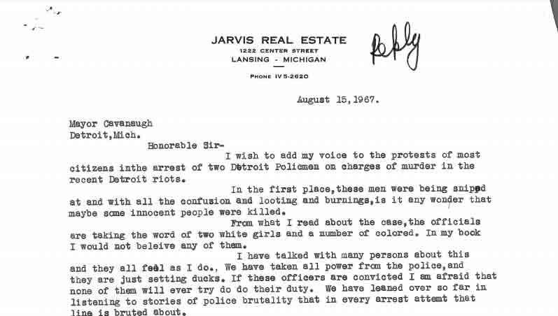 Letter from Bert Arnold to Jerome Cavanagh, Aug 15, 1967