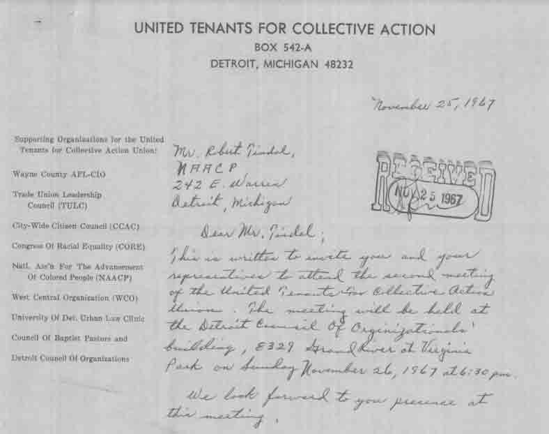 Letter from Fred Lyles to Robert Tindal (1967)