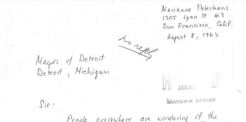 Letter from Marianne Peterhaus to Jerome Cavanagh, Aug 8, 1967