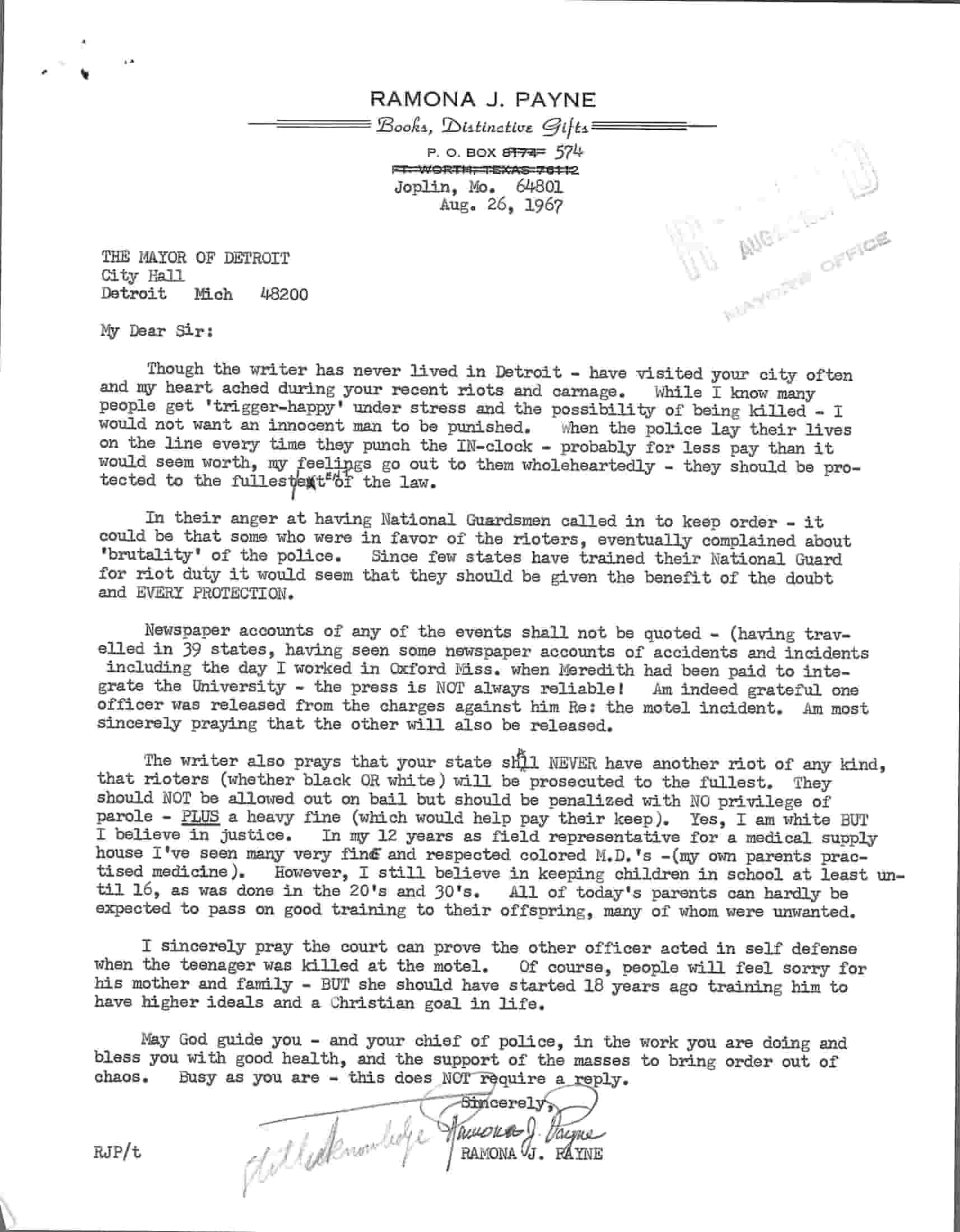 Letter from Ramona Payne to Jerome Cavanagh, Aug 26, 1967