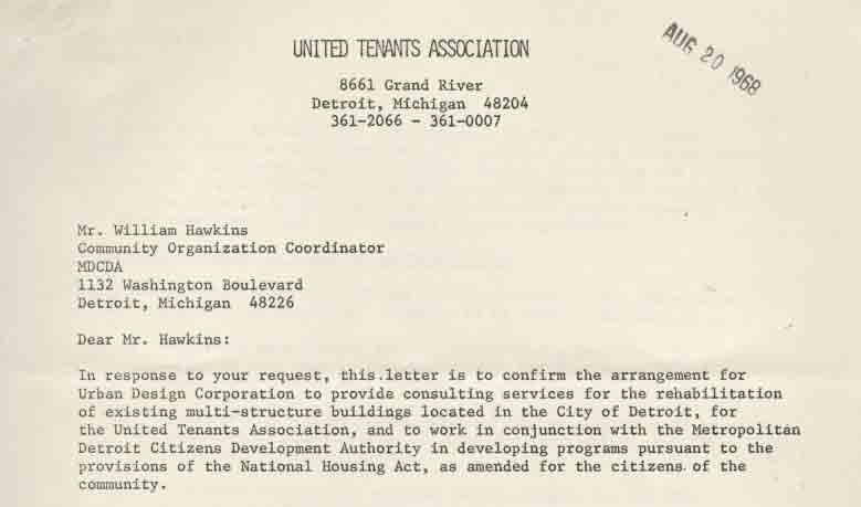 Letter from UTCA to William Hawkins (1968)