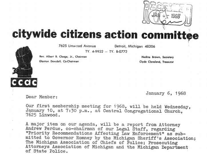 Letter to CCAC Members, January 6, 1968