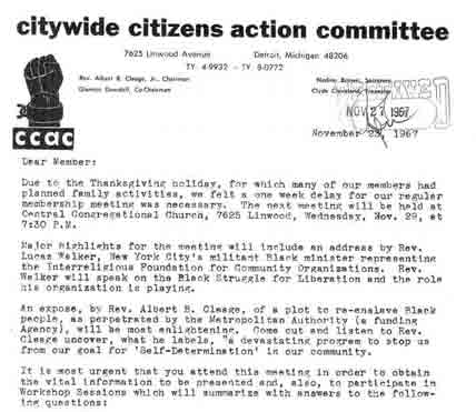 Letter to CCAC Members, Nov 23, 1967