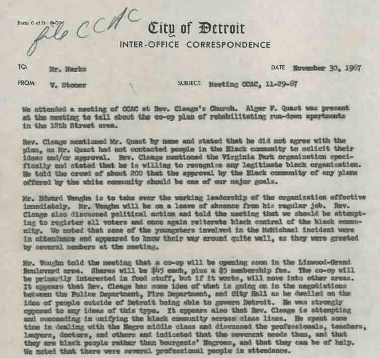 Memo from V. Stoner to Mr. Marks (November 30, 1967)