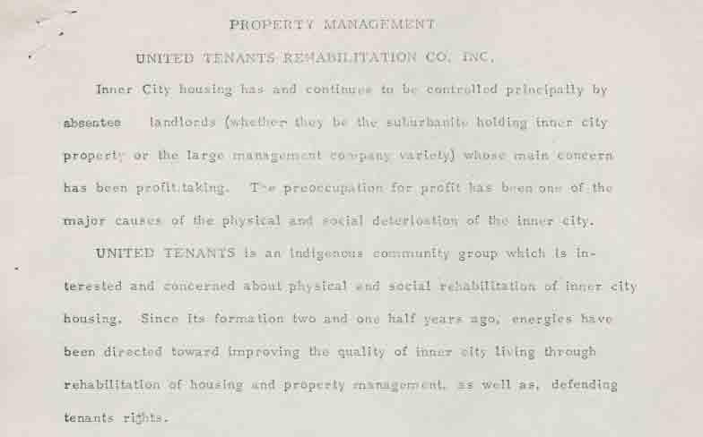 Property Management, United Tenants Rehabilitation Co, Inc