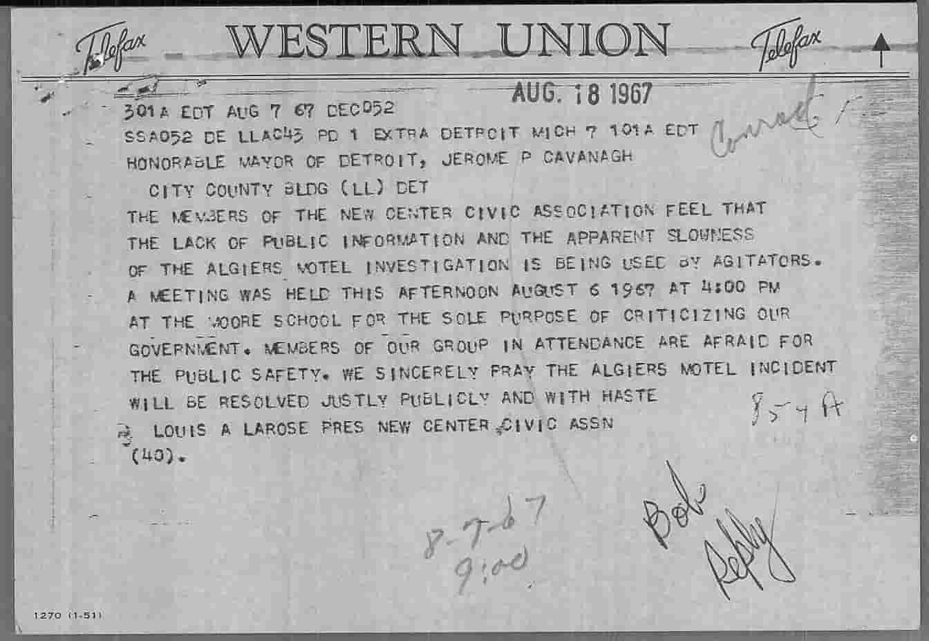 Telegram from Louis Larose to Jerome Cavanagh, Aug 7, 1967-1-min