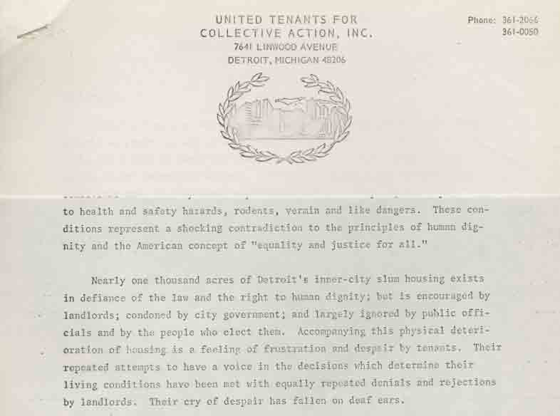 UTCA Statement on Organization History (1970)